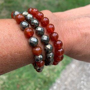 Carnelian and pyrite bead bracelets